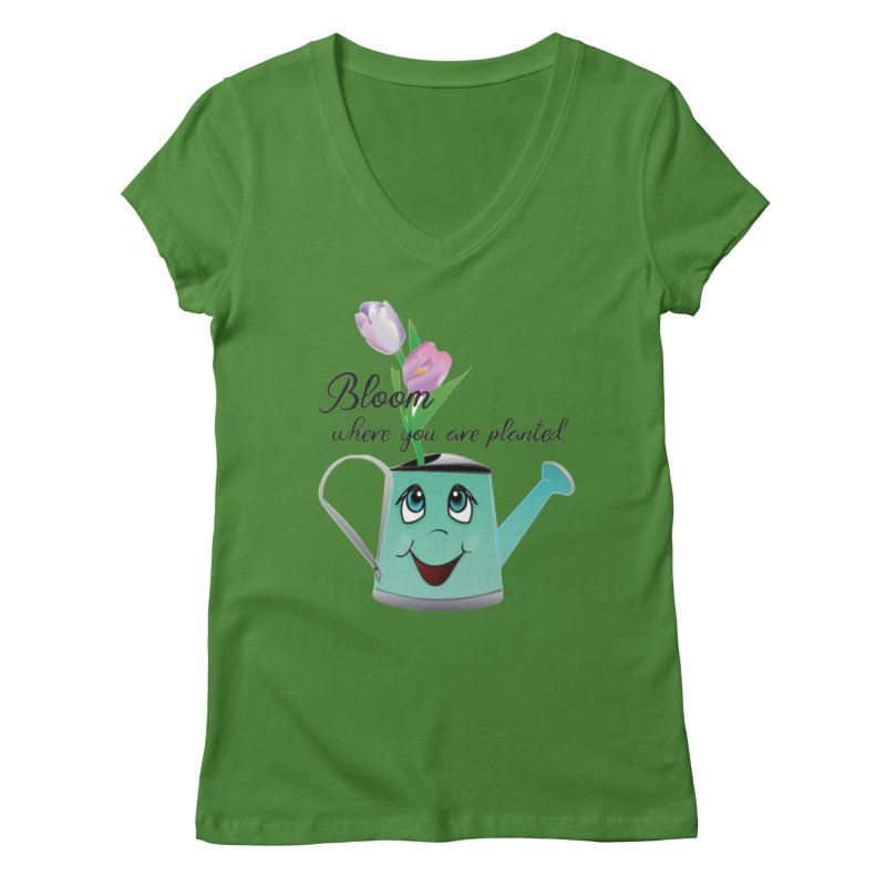 Bloom where you are planted. Women's Regular V-Neck by MyInspirationalGifts Artist Shop