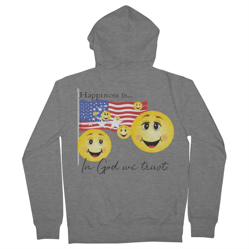 Happiness is... Men's French Terry Zip-Up Hoody by MyInspirationalGifts Artist Shop