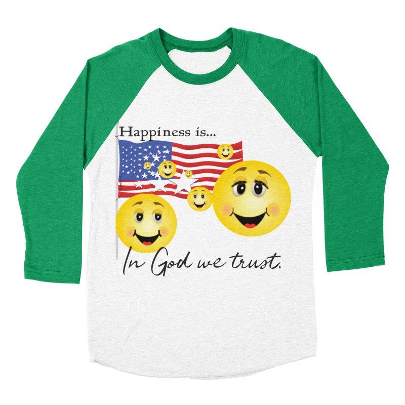 Happiness is... Men's Baseball Triblend Longsleeve T-Shirt by MyInspirationalGifts Artist Shop
