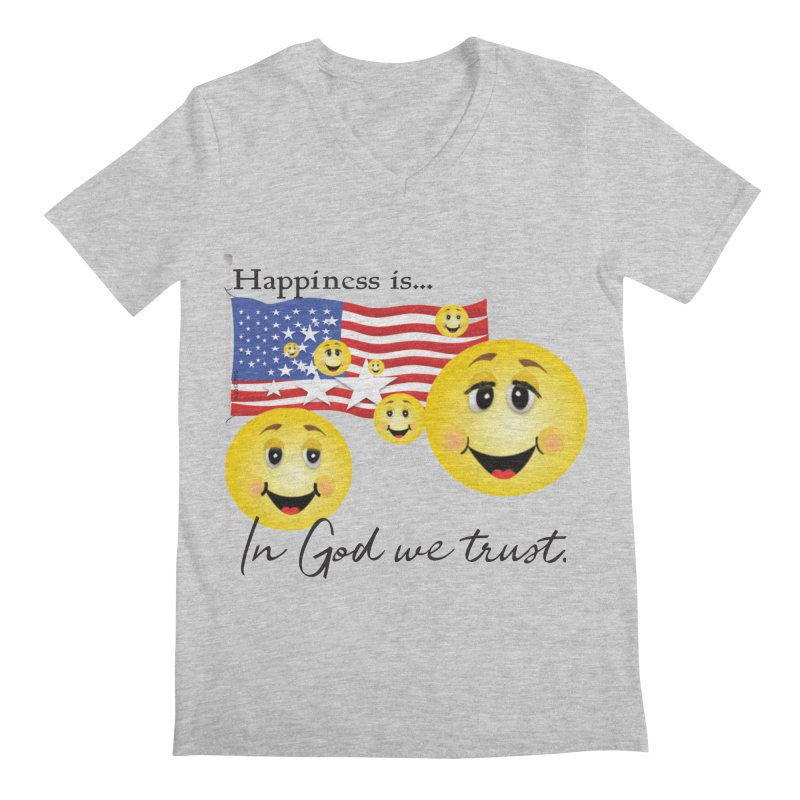 Happiness is... Men's Regular V-Neck by MyInspirationalGifts Artist Shop