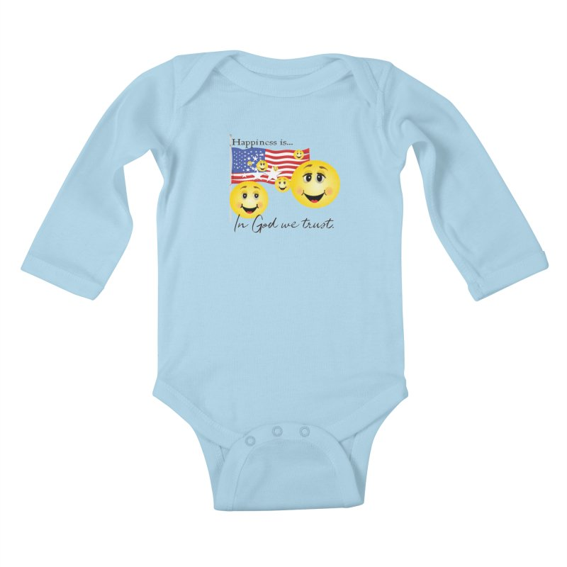 Happiness is... Kids Baby Longsleeve Bodysuit by MyInspirationalGifts Artist Shop