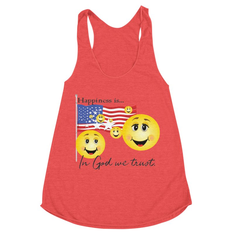 Happiness is... Women's Racerback Triblend Tank by MyInspirationalGifts Artist Shop