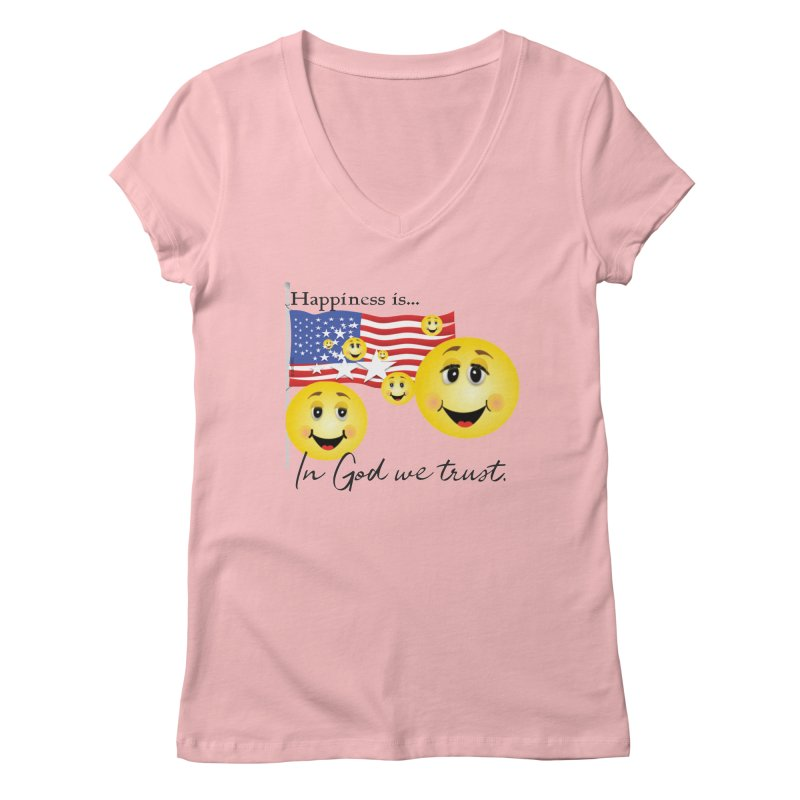 Happiness is... Women's Regular V-Neck by MyInspirationalGifts Artist Shop