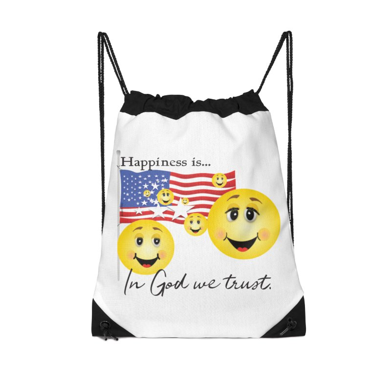 Happiness is... Accessories Drawstring Bag Bag by MyInspirationalGifts Artist Shop