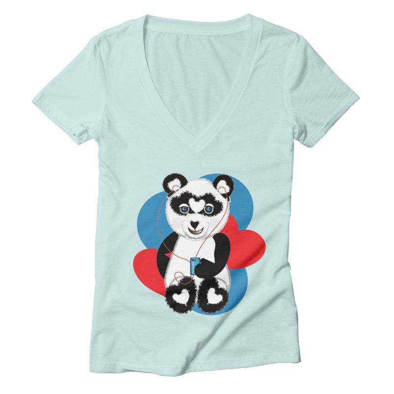 Pandorable Panda Women's Deep V-Neck V-Neck by MyInspirationalGifts Artist Shop