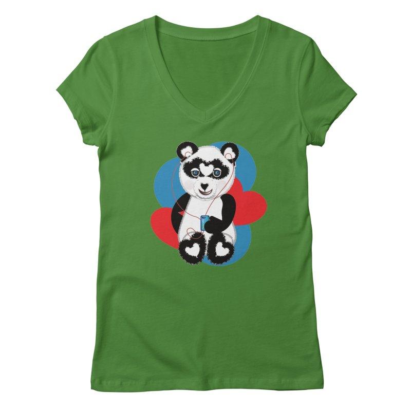 Pandorable Panda Women's Regular V-Neck by MyInspirationalGifts Artist Shop