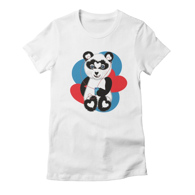 Pandorable Panda Women's Fitted T-Shirt by MyInspirationalGifts Artist Shop