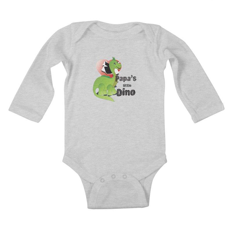 Little Dino Kids Baby Longsleeve Bodysuit by MyInspirationalGifts Artist Shop