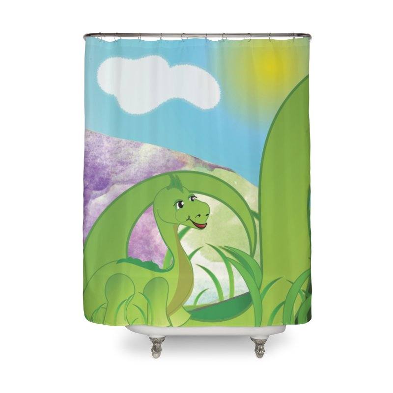 Little Dino Home Shower Curtain by MyInspirationalGifts Artist Shop