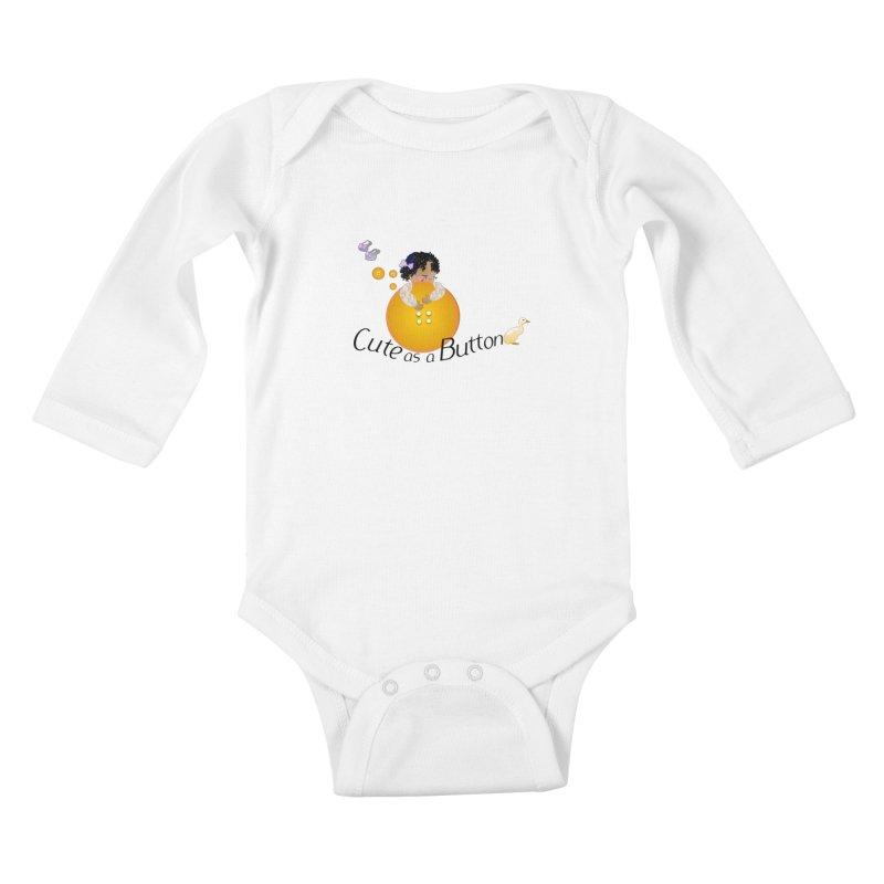 Cute as a Button Kids Baby Longsleeve Bodysuit by MyInspirationalGifts Artist Shop