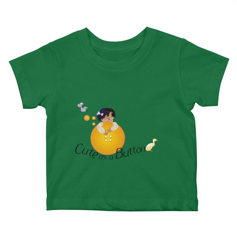 Cute as a Button Kids Baby T-Shirt by MyInspirationalGifts Artist Shop