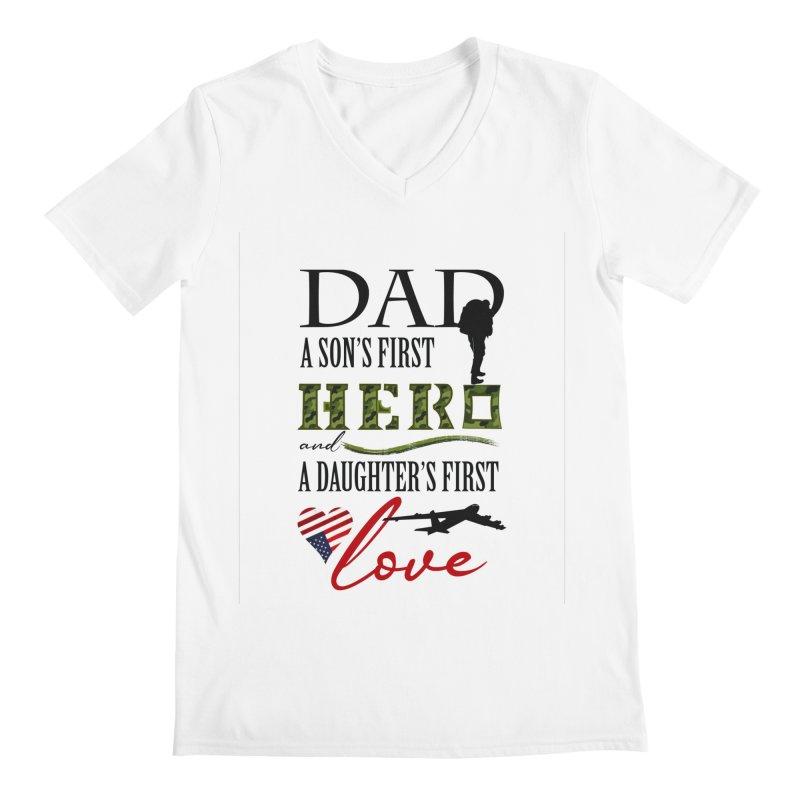 Hero Dad Men's V-Neck by MyInspirationalGifts Artist Shop