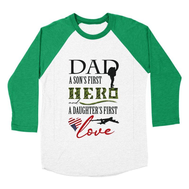 Hero Dad Men's Baseball Triblend Longsleeve T-Shirt by MyInspirationalGifts Artist Shop