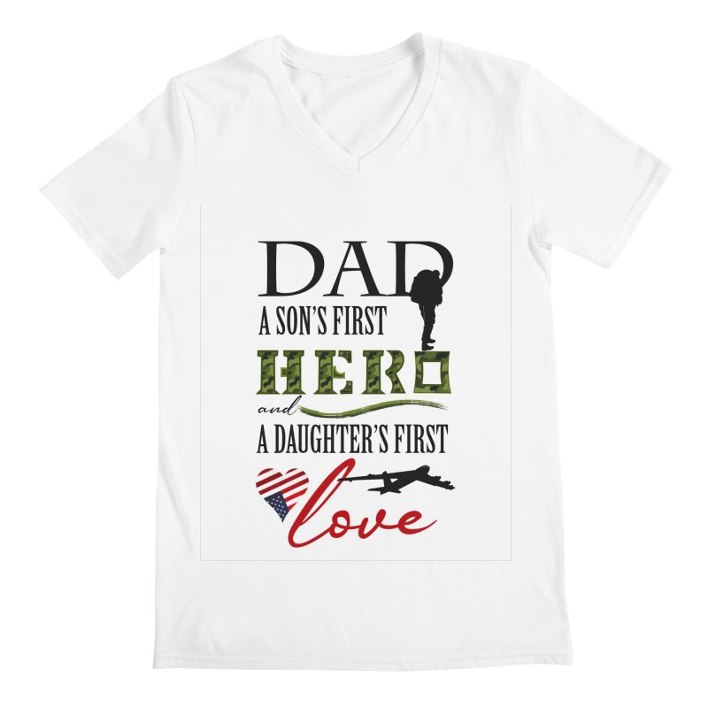 Hero Dad Men's Regular V-Neck by MyInspirationalGifts Artist Shop