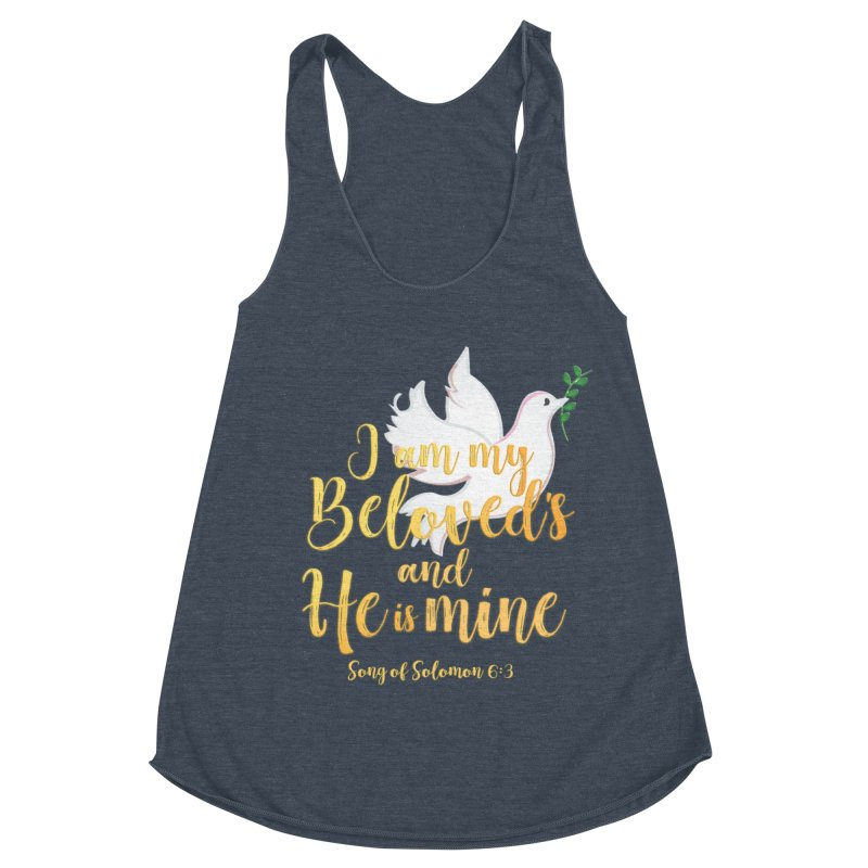 I Am My Beloved's Women's Racerback Triblend Tank by MyInspirationalGifts Artist Shop