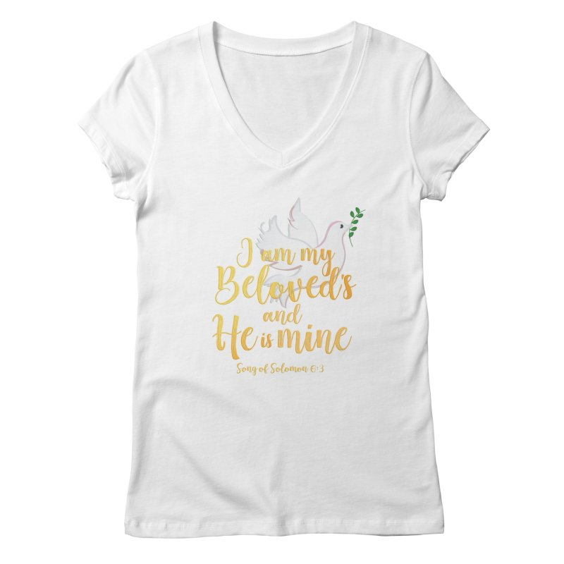 I Am My Beloved's Women's Regular V-Neck by MyInspirationalGifts Artist Shop