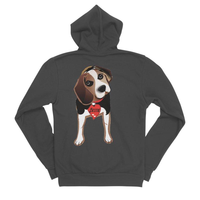 Beagle Bestie Women's Sponge Fleece Zip-Up Hoody by MyInspirationalGifts Artist Shop