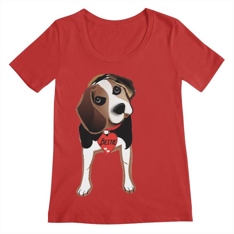 Beagle Bestie Women's Regular Scoop Neck by MyInspirationalGifts Artist Shop