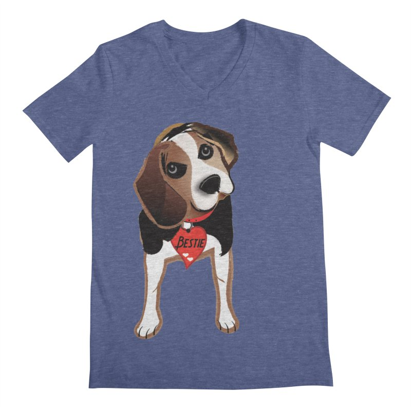 Beagle Bestie Men's Regular V-Neck by MyInspirationalGifts Artist Shop