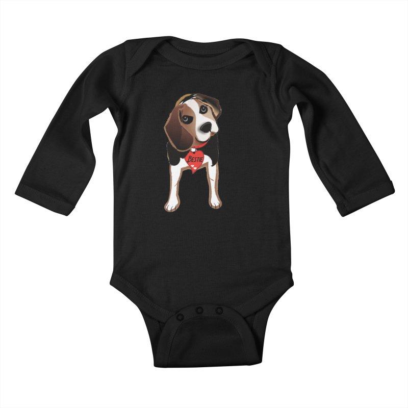 Beagle Bestie Kids Baby Longsleeve Bodysuit by MyInspirationalGifts Artist Shop