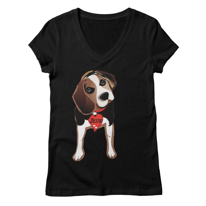 Beagle Bestie Women's Regular V-Neck by MyInspirationalGifts Artist Shop