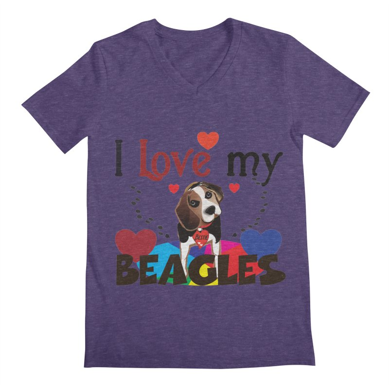 I love my Beagles Men's Regular V-Neck by MyInspirationalGifts Artist Shop