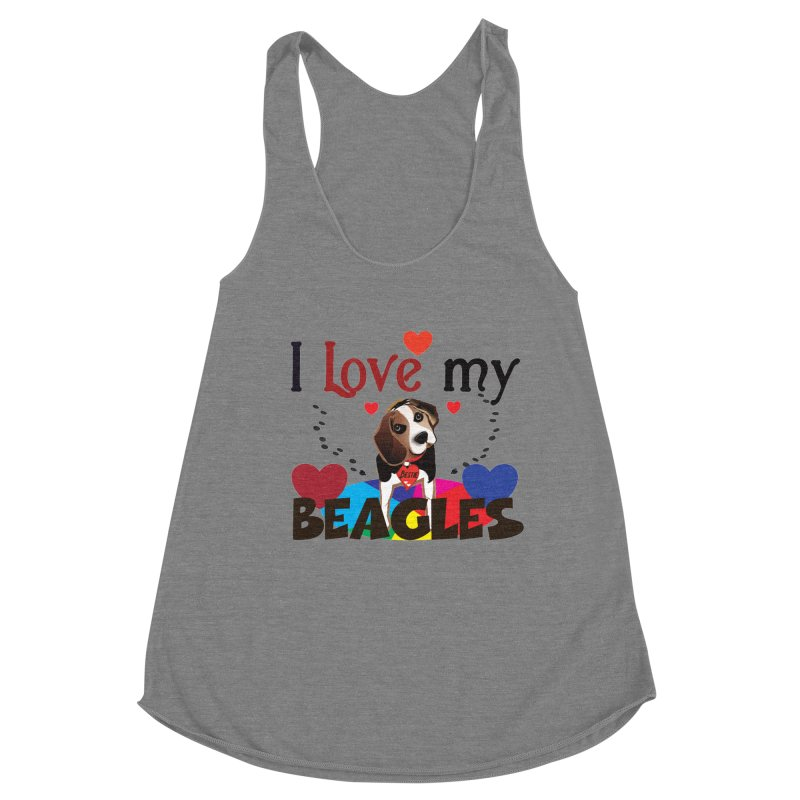 I love my Beagles Women's Racerback Triblend Tank by MyInspirationalGifts Artist Shop