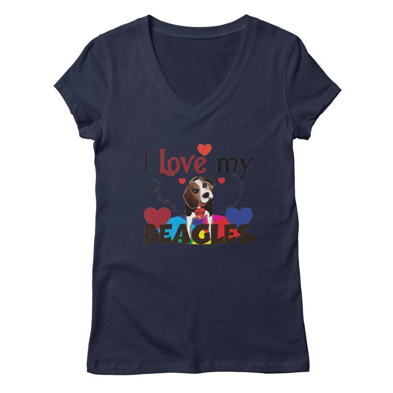 I love my Beagles Women's Regular V-Neck by MyInspirationalGifts Artist Shop