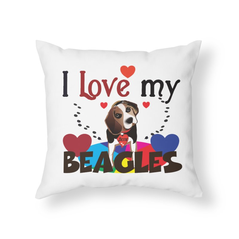 I love my Beagles Home Throw Pillow by MyInspirationalGifts Artist Shop