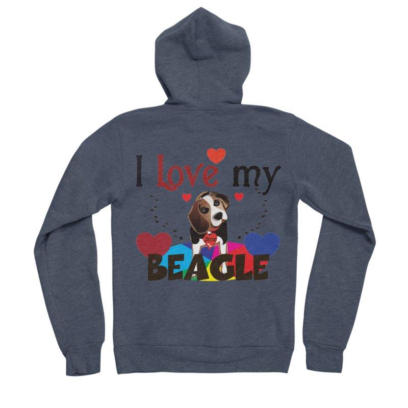 Beagle love Women's Sponge Fleece Zip-Up Hoody by MyInspirationalGifts Artist Shop