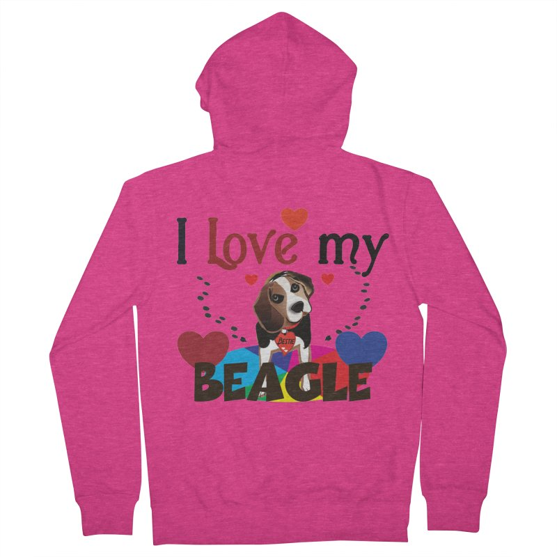 Beagle love Women's French Terry Zip-Up Hoody by MyInspirationalGifts Artist Shop