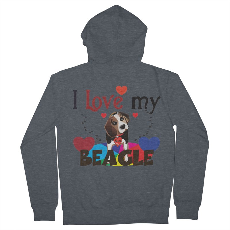 Beagle love Men's French Terry Zip-Up Hoody by MyInspirationalGifts Artist Shop
