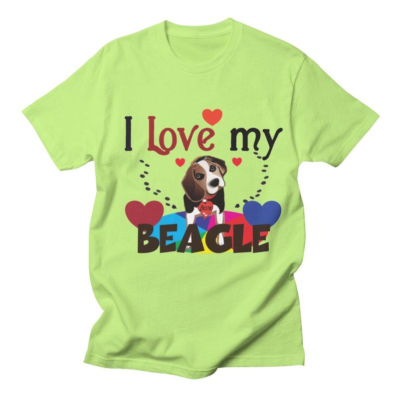 Beagle love Women's Regular Unisex T-Shirt by MyInspirationalGifts Artist Shop