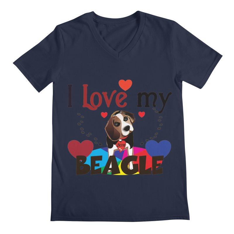 Beagle love Men's Regular V-Neck by MyInspirationalGifts Artist Shop