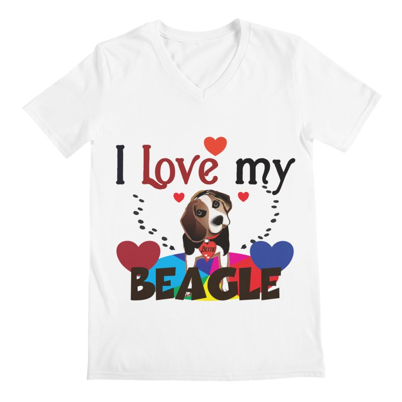 Beagle love Men's Regular V-Neck by MyInspirationalGifts Artist Shop