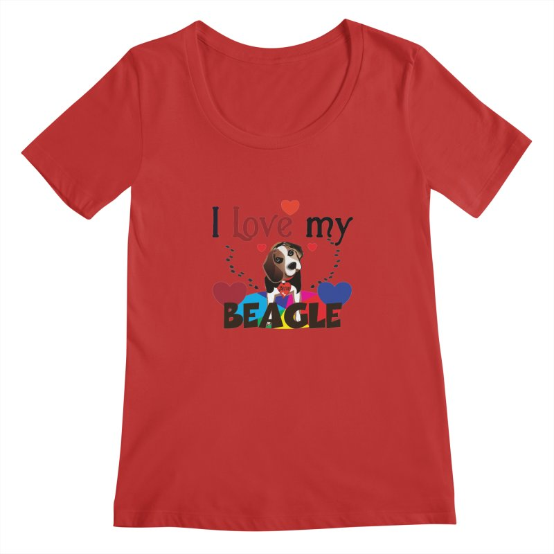 Beagle love Women's Regular Scoop Neck by MyInspirationalGifts Artist Shop