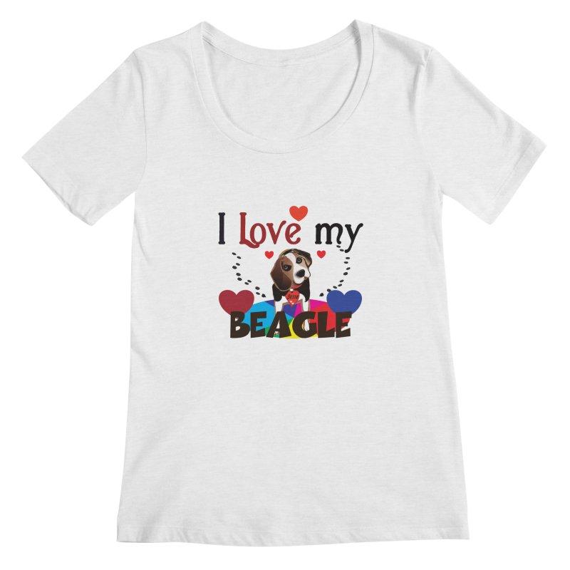 Beagle love Women's Regular Scoop Neck by MyInspirationalGifts Artist Shop