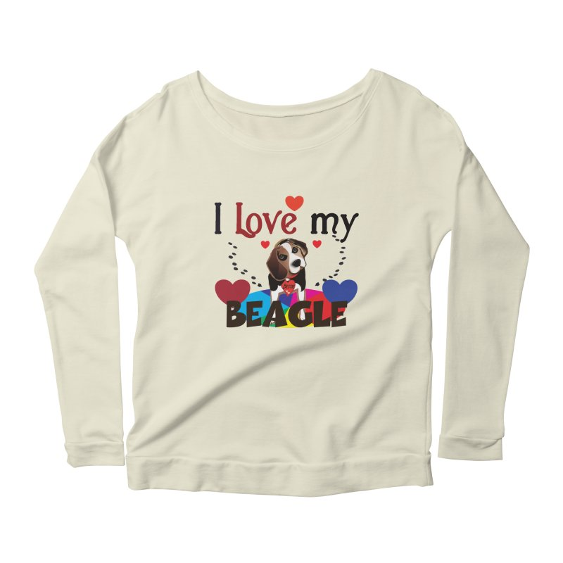 Beagle love Women's Scoop Neck Longsleeve T-Shirt by MyInspirationalGifts Artist Shop