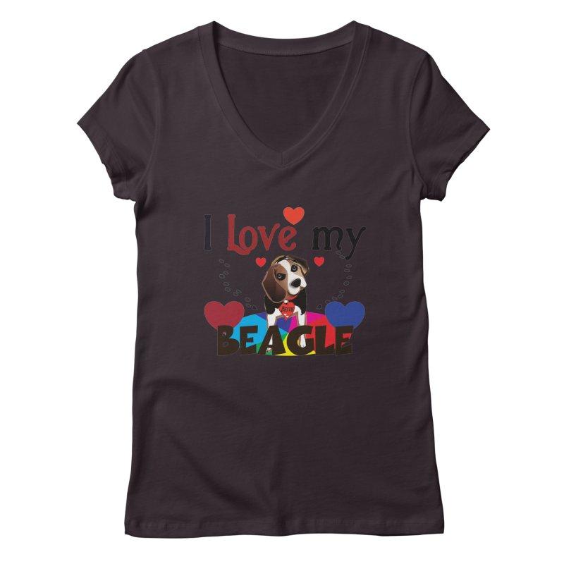 Beagle love Women's Regular V-Neck by MyInspirationalGifts Artist Shop