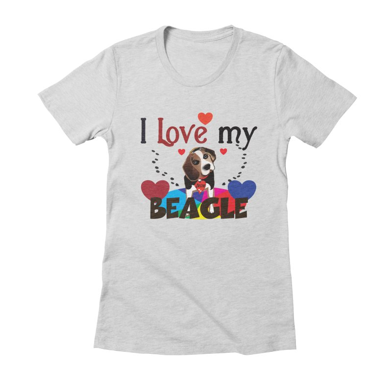 Beagle love Women's Fitted T-Shirt by MyInspirationalGifts Artist Shop