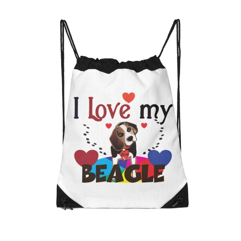 Beagle love Accessories Drawstring Bag Bag by MyInspirationalGifts Artist Shop