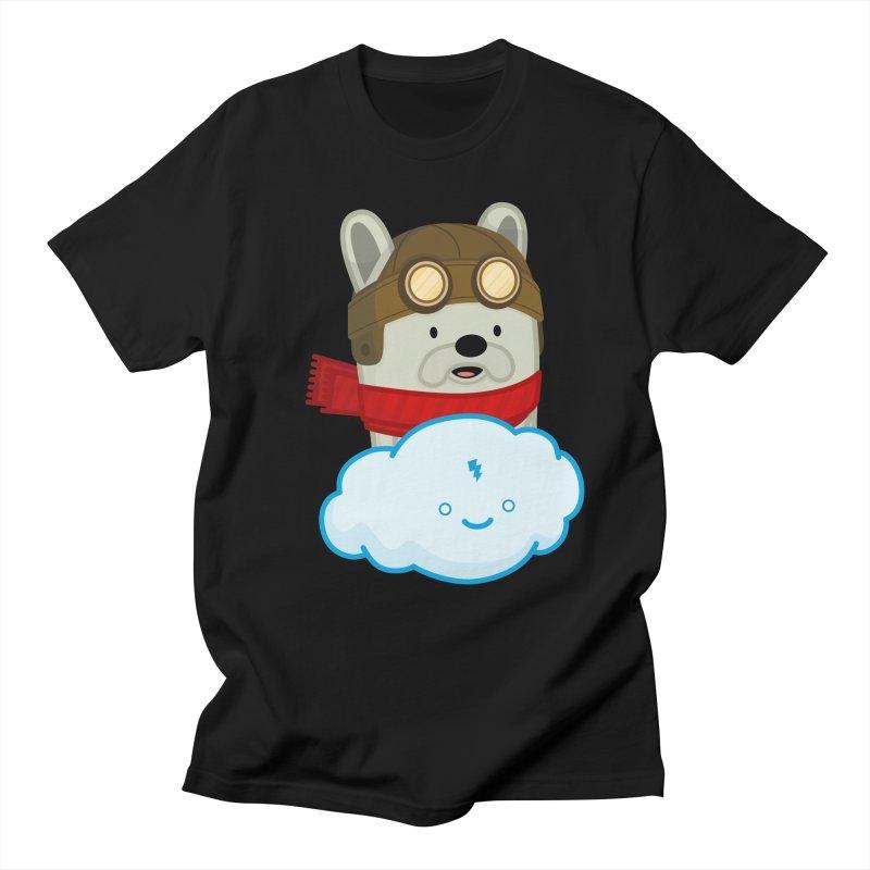 The Flying French Bulldog Men's Regular T-Shirt by MykoWu's Artist Shop