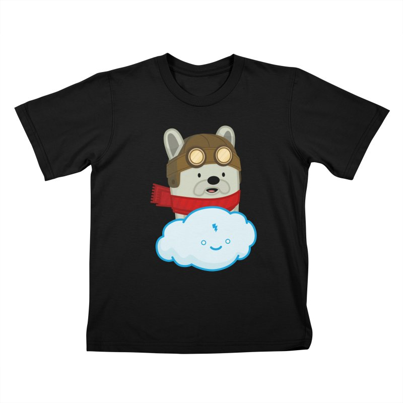 The Flying French Bulldog Kids T-Shirt by MykoWu's Artist Shop