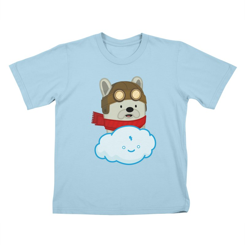The Flying French Bulldog Kids T-Shirt by MykoWu's Artist Shop