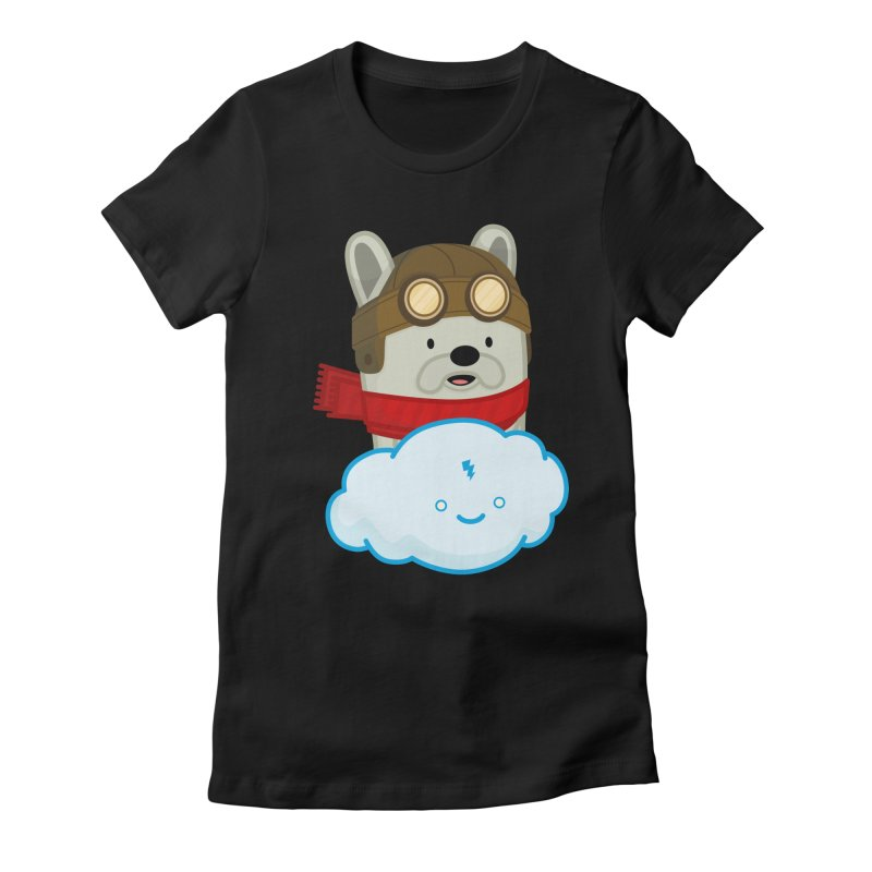 The Flying French Bulldog Women's Fitted T-Shirt by MykoWu's Artist Shop