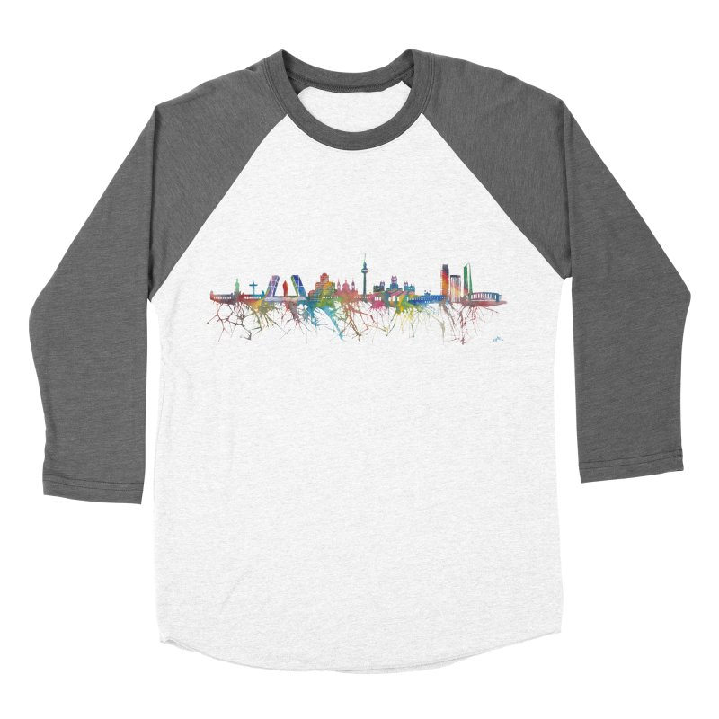Madrid skyline Women's Baseball Triblend T-Shirt by mymadtshirt's Artist Shop