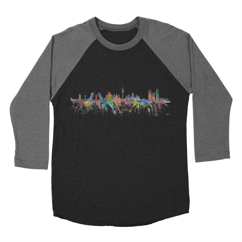 Madrid skyline Women's Baseball Triblend T-Shirt by mymadtshirt's Artist Shop