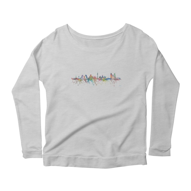 Madrid skyline Women's Longsleeve Scoopneck  by mymadtshirt's Artist Shop