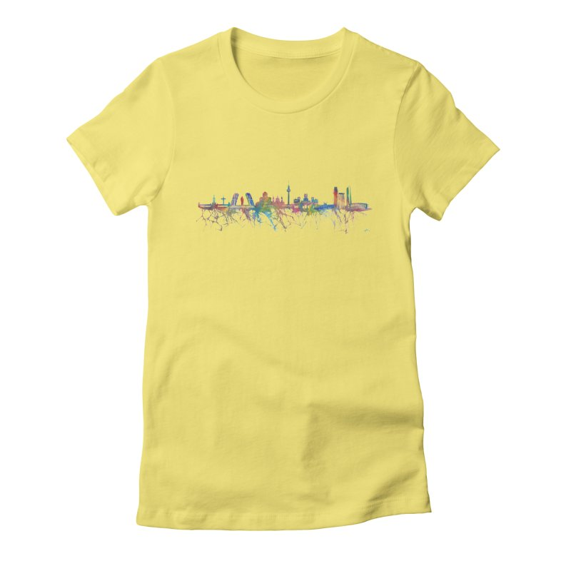 Madrid skyline Women's Fitted T-Shirt by mymadtshirt's Artist Shop