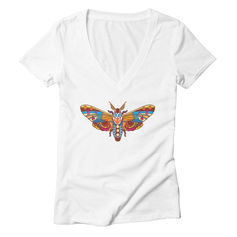 Clown Moth Women's Deep V-Neck V-Neck by My Metal Hand Artist Shop